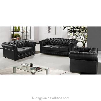 Comprar Muebles De China De Madera Sofá De Cuero Negro 3 + 2 + 1 ...
