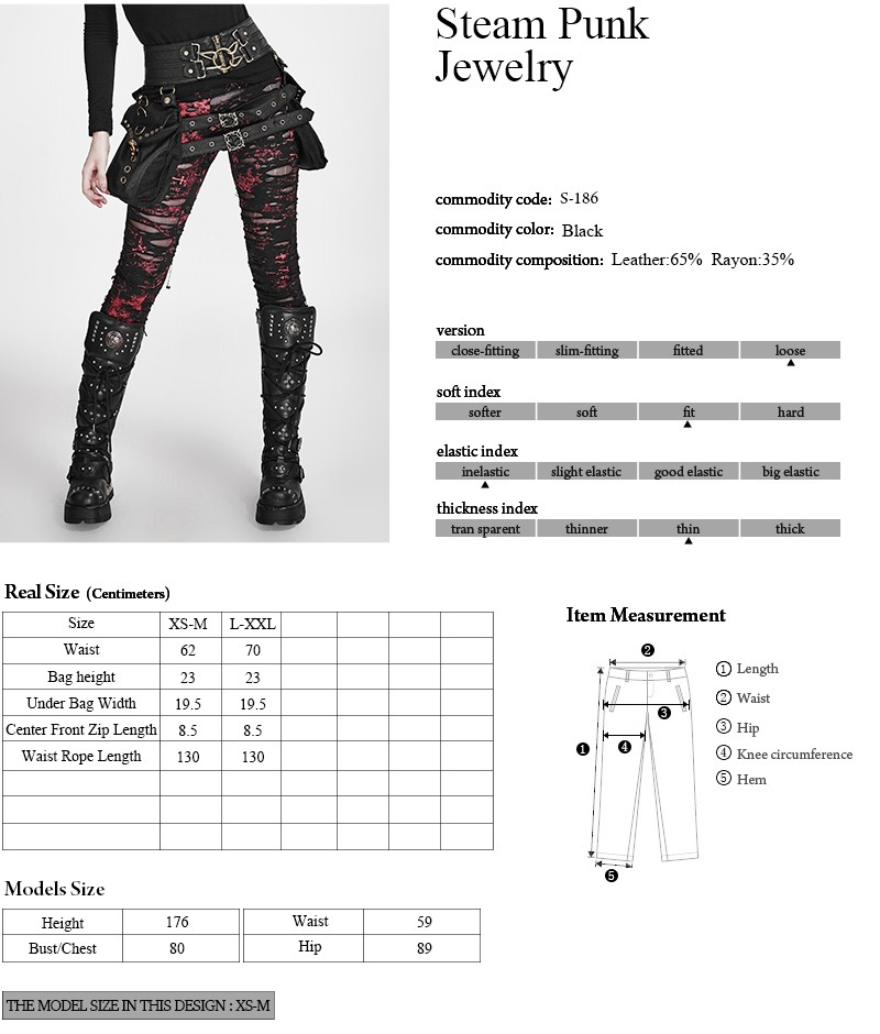 PANK RAVE Heavy Punk Rock Leather Belt Bags Steampunk Black Waist Packs Gothic