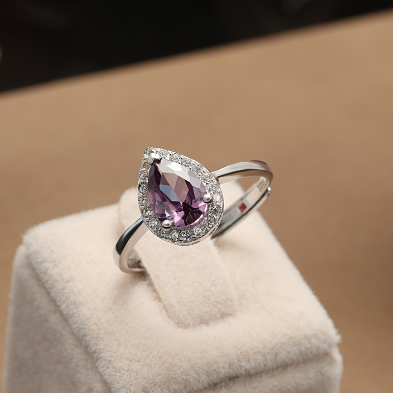 fashion 925 sterling silver ring with purple cubic zircon stone