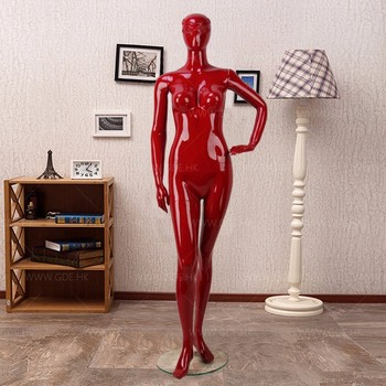 Stand mask face red fiberglass female mannequins