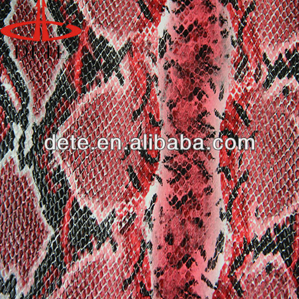 hot sale snake emboss imitation leather/animal skin raw material for making bag in China