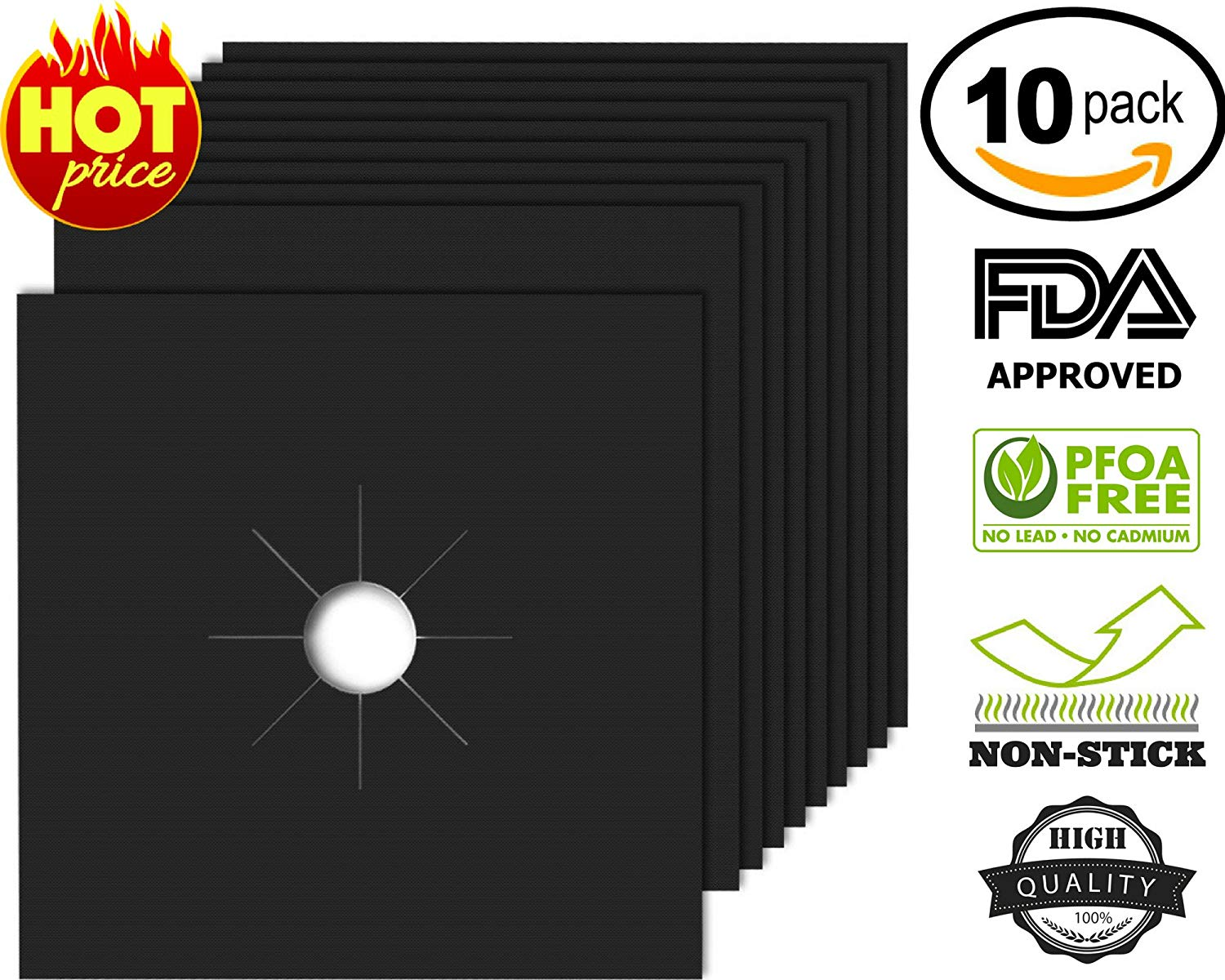 Gas Stove Burner Covers 10 PACK, 100% AUTHENTIC REAL NON STICK PROPERTIES, Gas Range Protectors,Double Thickness 0.2mm Reusable Stovetop Burner Liners, Dishwasher Safe, Easy to Clean, Size 10.6X10.6