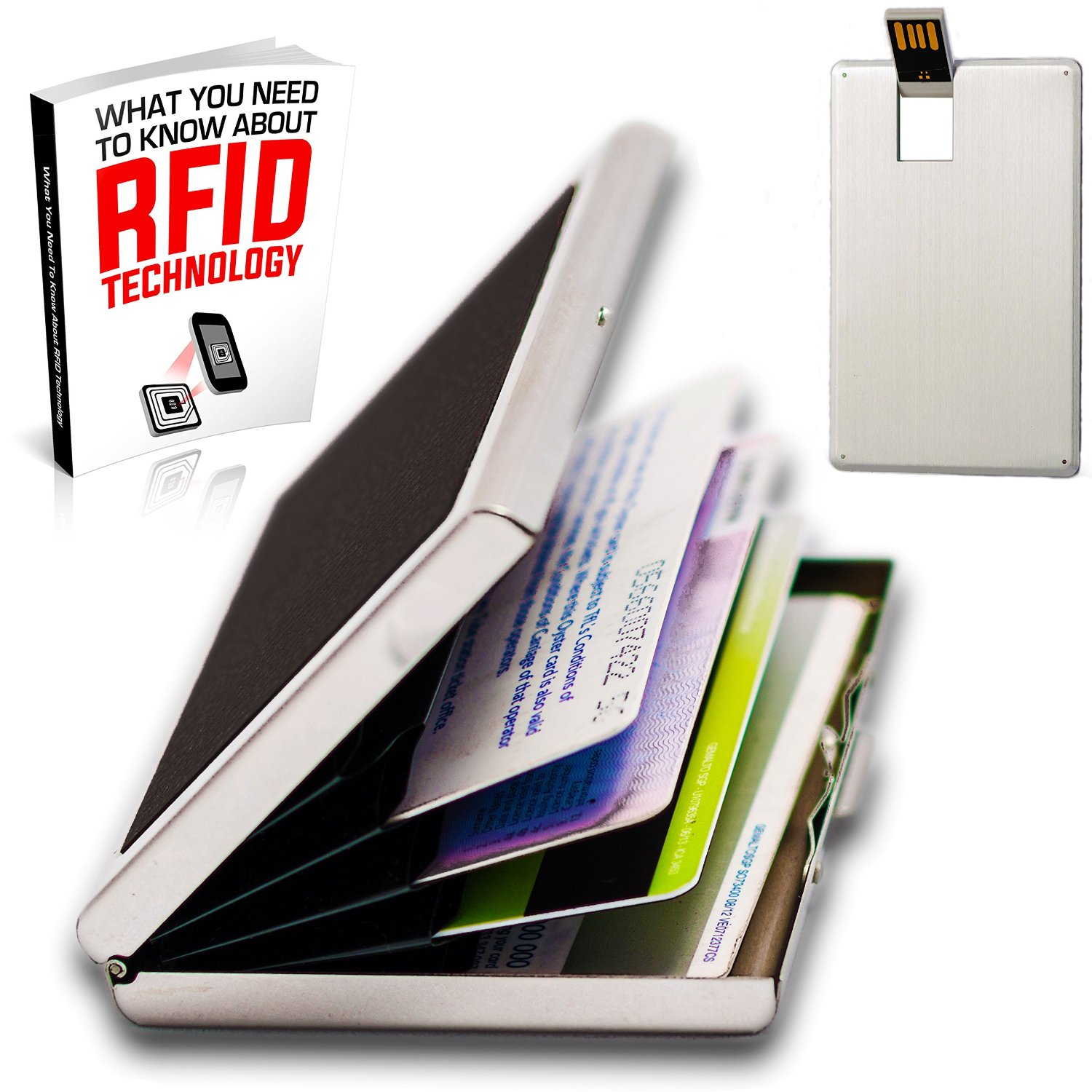 Premium RFID Blocking wallet Credit Card Holder for men and women with 4gb Credit Card USB Flash Drive Free Gift for a limited time only.