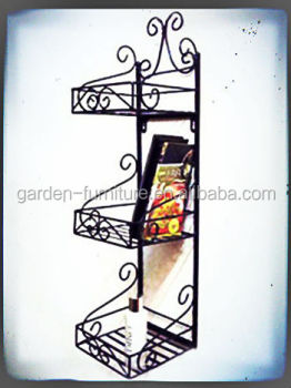 Home Decor Wrought Iron 3 Tier Shelf Vintage Wall Rackhotel Style