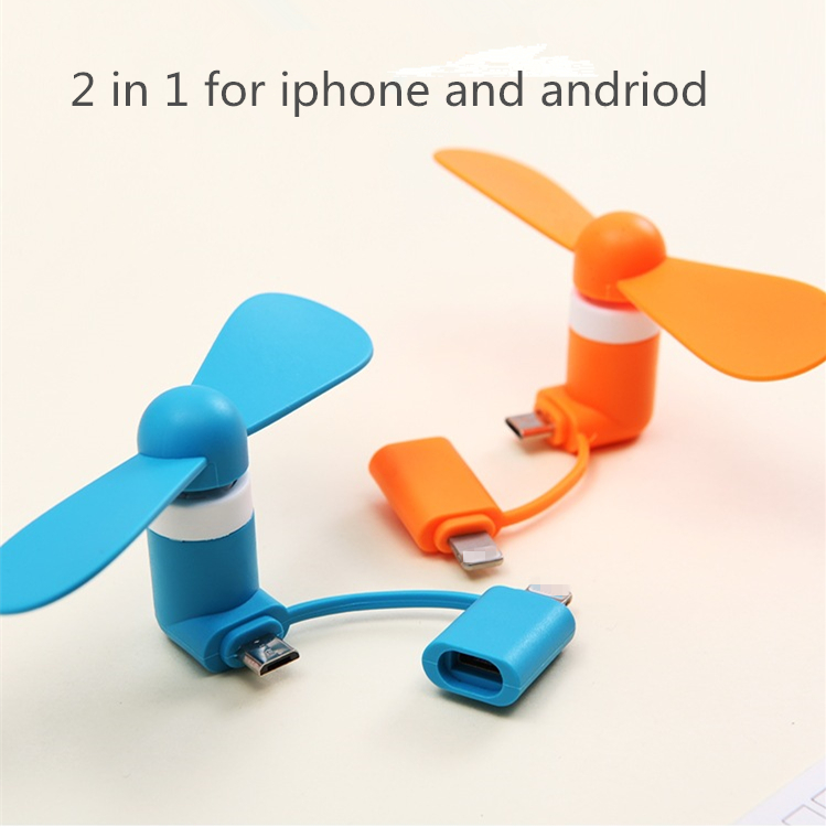 2 in 1 for iphone and andriod outdoor portable mini usb phone fan for iphone fan