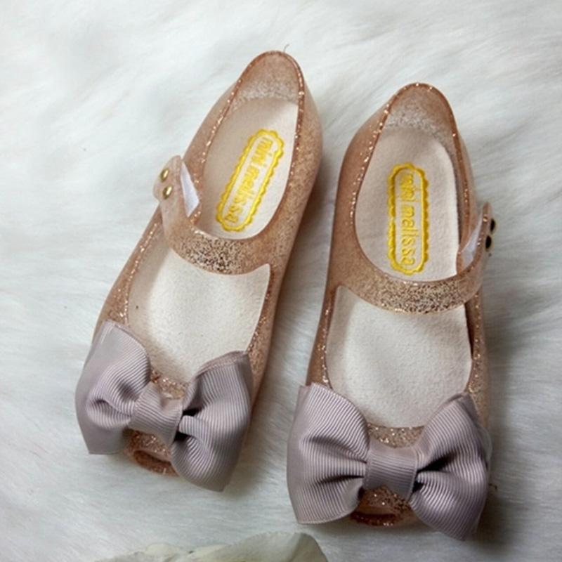 Mini Melissa Girls Sandals 2016 Children s Sandals Butterfly Knot 3 Color Children s Sandals Cartoon