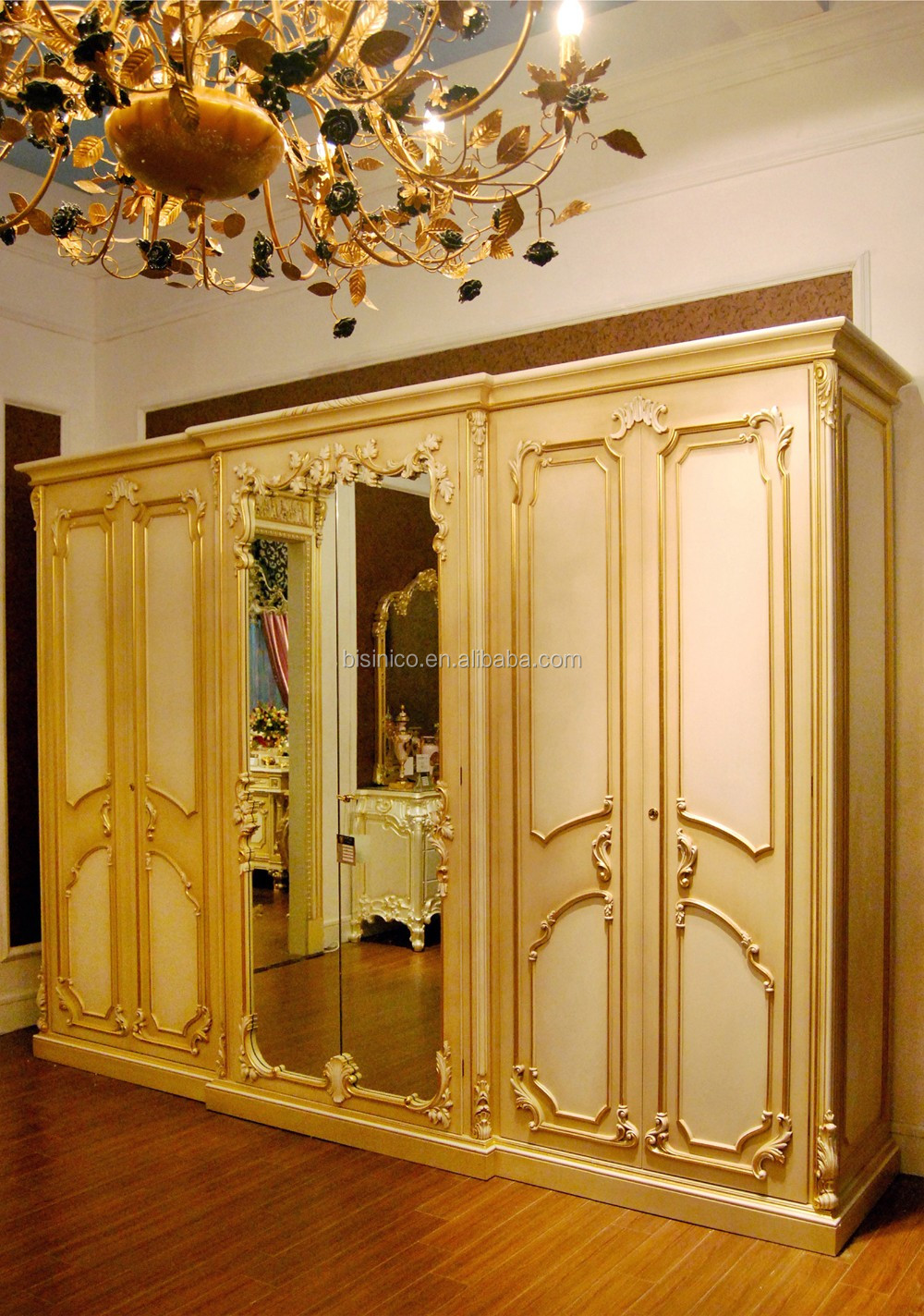 French Rococo Style Six Door Wardrobe Closet With Mirror