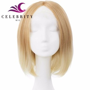 2018 blonde ombre color white women lace front wigs, natural middle parting hairline synthetic heat resistant drag queen wigs
