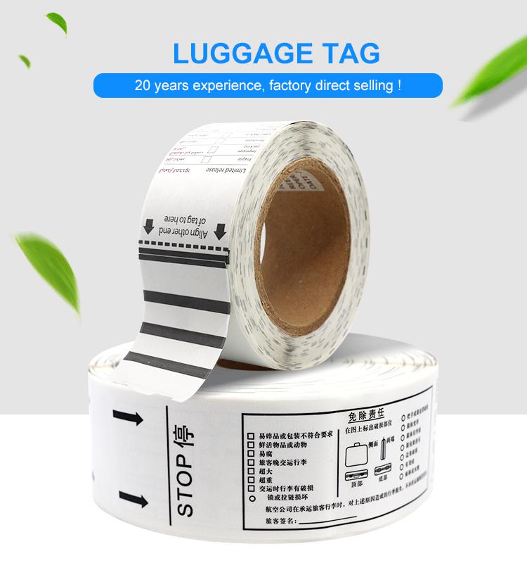 Custom Printing Self Adhesive Thermal Airline Luggage Tags Baggage Tags