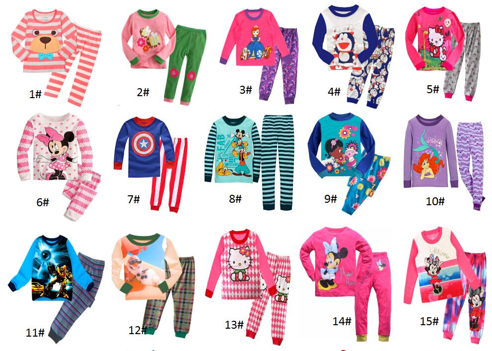 New Pyjamas boy girl kids long sleeve pajama set baby cartoon pajamas sleepwear kids clothes set