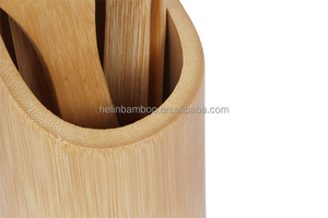 Wholesale Bamboo Utensils set wtih 4 - Piece Kitchen Serving Set With Holder