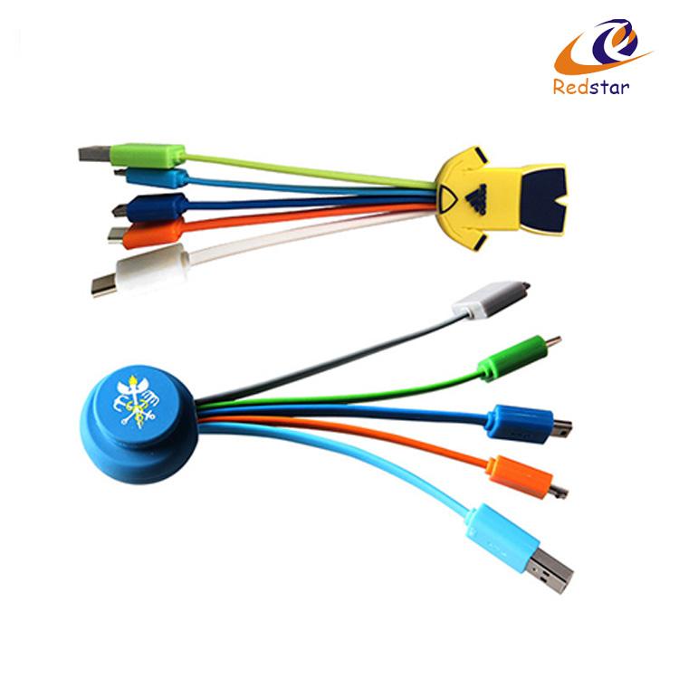 Promo Pvc Cartoon Head Multi Usb Data Cable,3 In 1 Usb Cable Micro ...