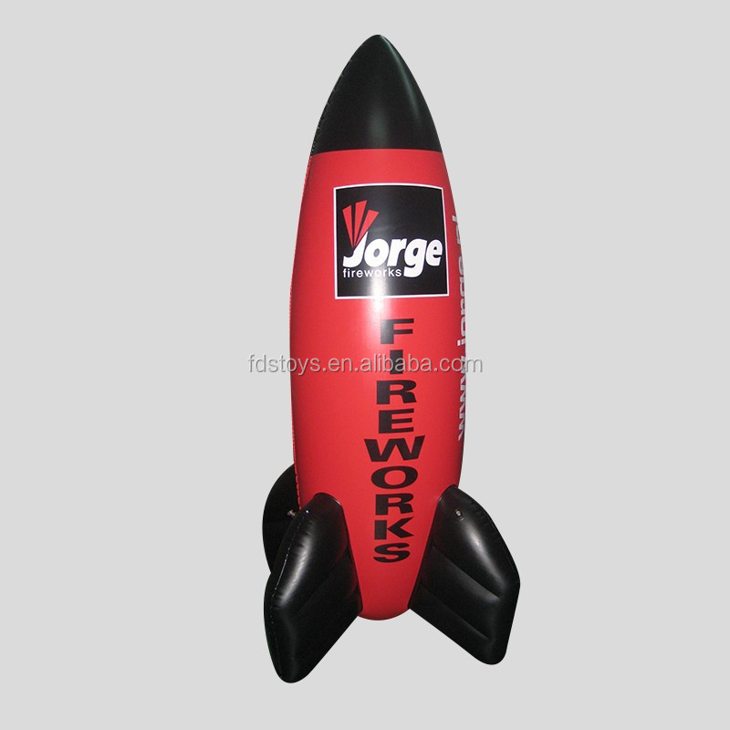Custom advertising inflatable rocket for display