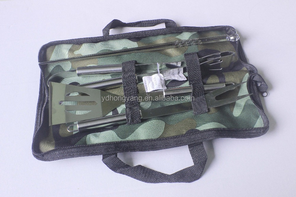 new arrival camouflage bbq tool set/grill cooking utensil set with oxford package bag