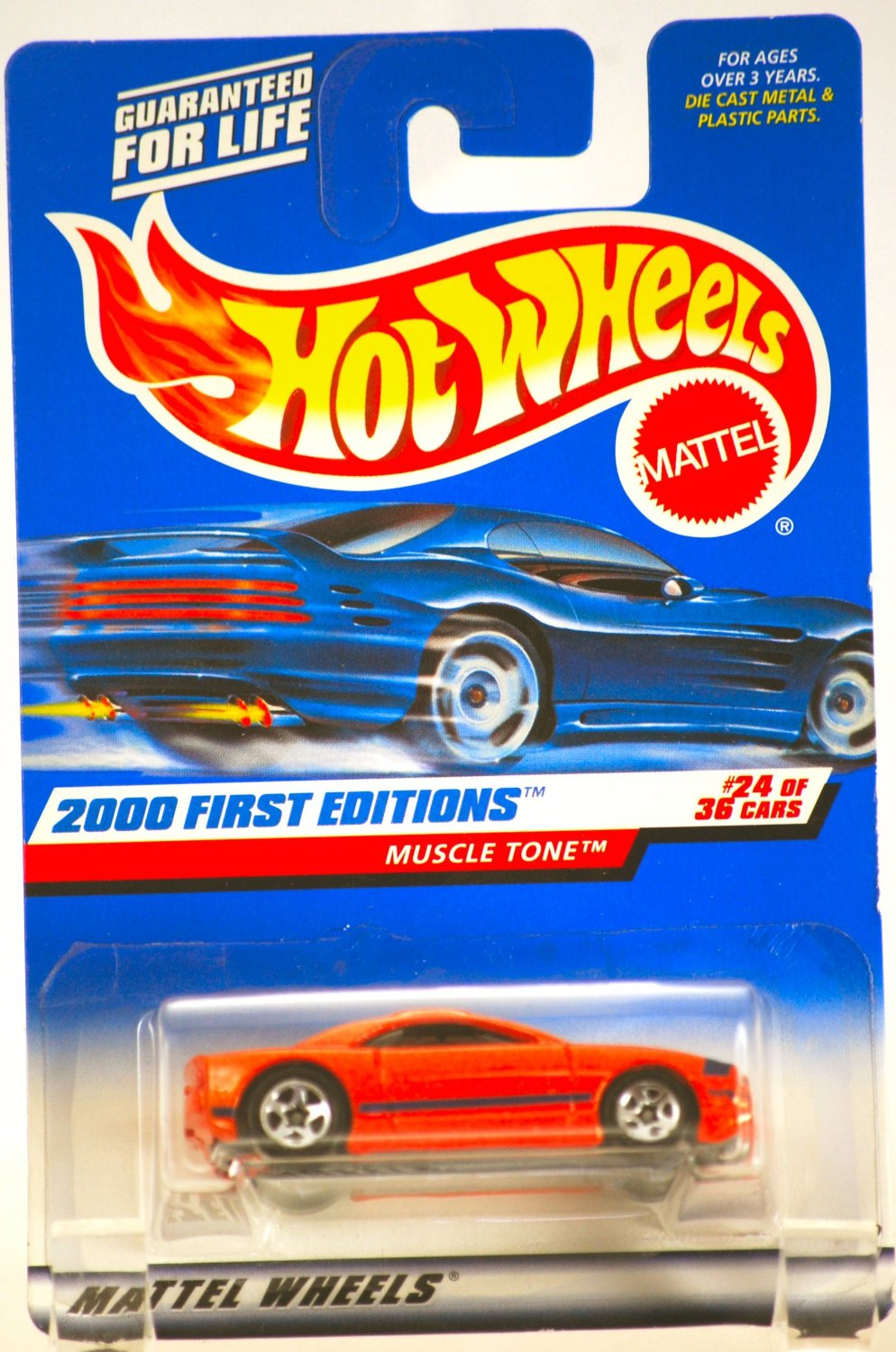 2000 - Mattel / Hot Wheels - Muscle Tone (Fiero: Red) - Pontiac - 2000 First Editions #24 of 36 Cars - 1:64 Scale Die Cast Metal - MOC - Limited Edition - Collectible