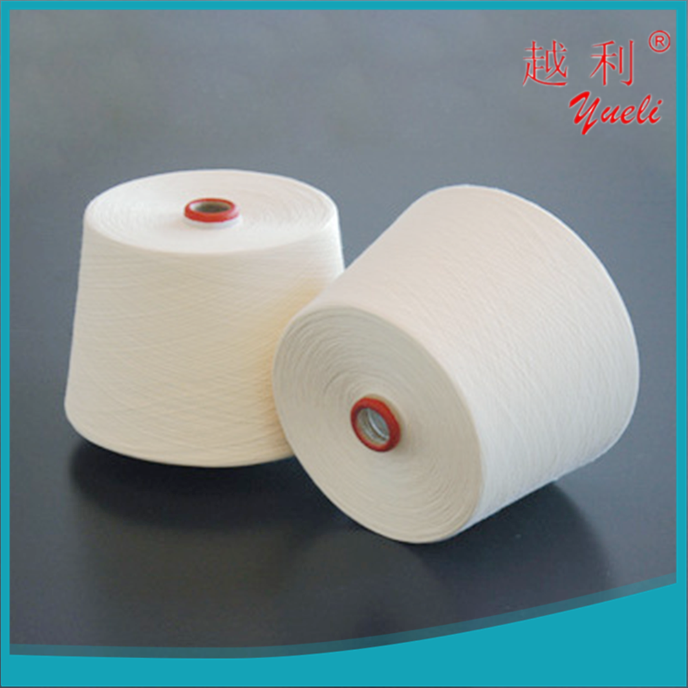 recycled dyed 30/1 100% ring spun polyester yarn manufacturer in china