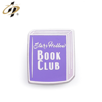 New design low price hard enamel metal funny lapel pin made for book club
