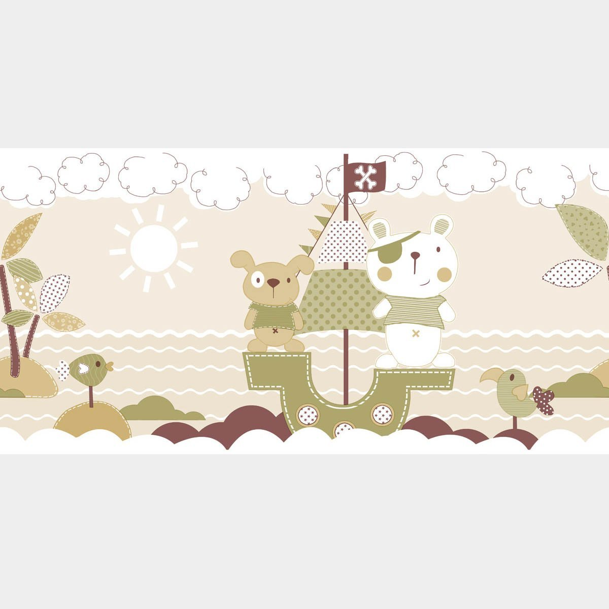Get Quotations · Wallpaper Border for kids Room, Playroom / Captain Bear and Friends Wallpaper , Boat,