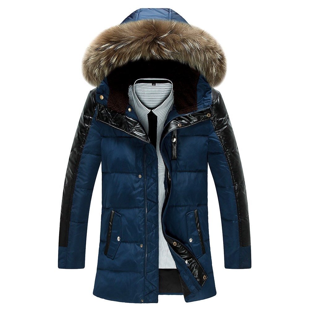 Mens jacket deals - Get Quotations 2015 Leather Feather Duck Down Jacket Men Long Outwear Thick Hooded Coats Fleece Spliced High Quality