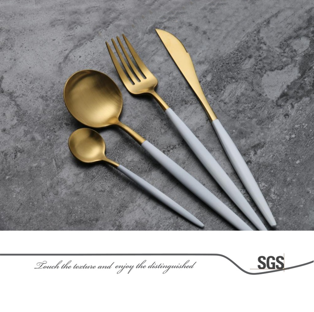 Slim Design High Class Flatware Sets Metal Pretty Inox Matte White Golden Cutlery  Set   Buy Inox Cutlery,Golden Cutlery,Golden Cutlery Set Product On ...