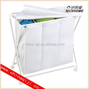 Laundry Clothes Bag Sorter Hamper Storage folding shopping laundry trolley cart