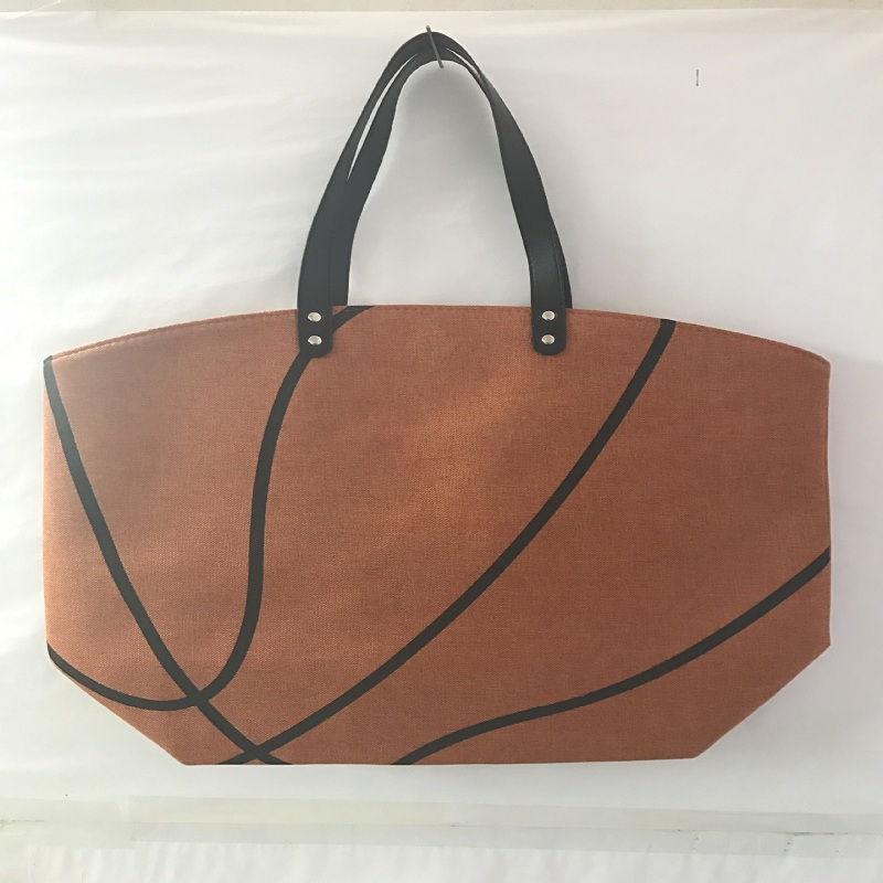 Wholesale canvas personalized printed basketball tote bag with leather  handles 135304c9b