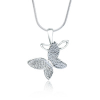 2016 Rellecona 925 sterling silver plated jewelry snake chain with frosted butterfly pendant