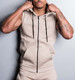Custom sleeveless mens plain hoodie vest gym stringer singlet vest