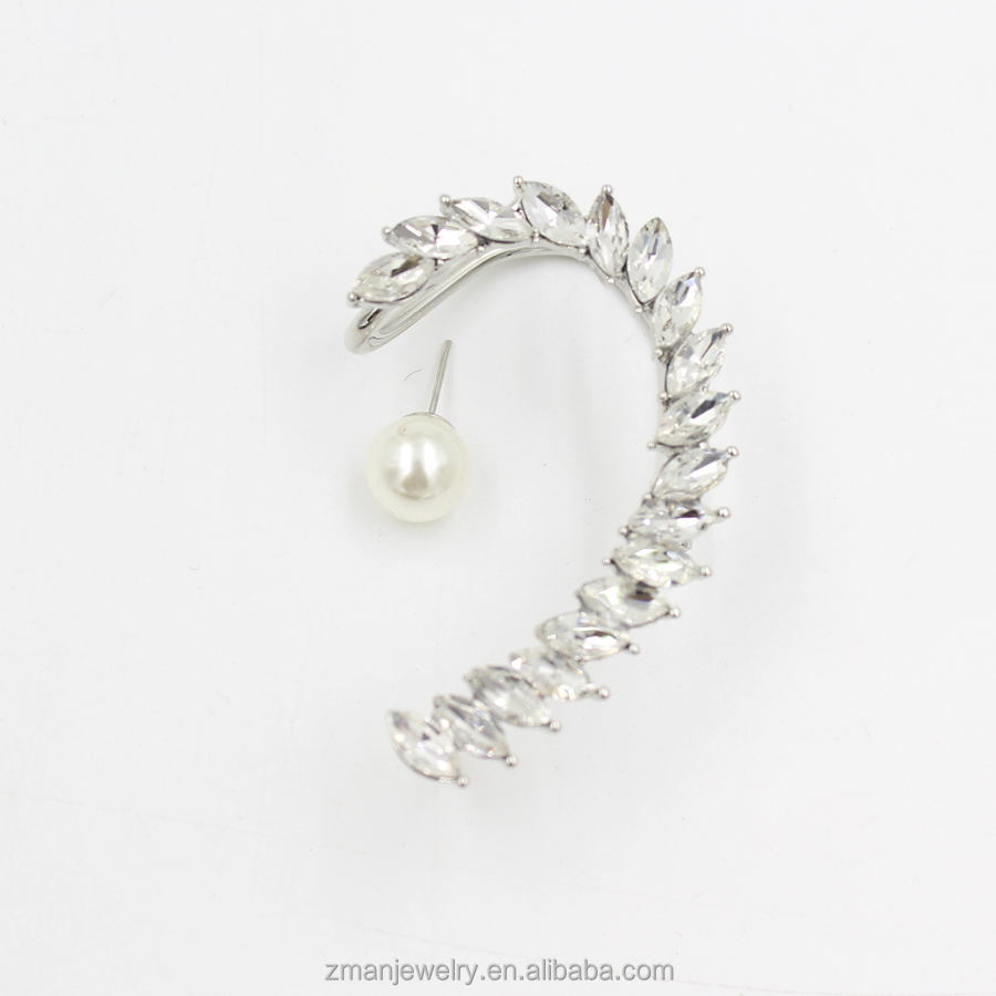 Fashion Silver Alloy Crystal Ear Cuff Earring Wrap Clip On For Left Ear WIth Pearl Stud Earring