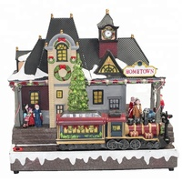 Promotional Plastic handicrafts led lighted Christmas Village house Decoration with train