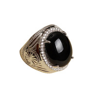 wholesale trendy adjustable size cock man ring gemstone 925 sterling silver jewelry natural big stone black agate ring