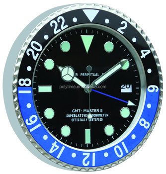 Bule And Black Frame Rolex Clock With Luminous Clock Hands Buy