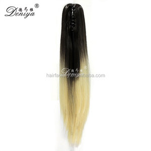 Straight ombre color hot sale high quality synthetic drawstring ponytail