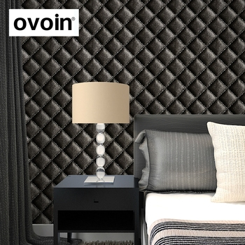 Black 3D Leather Effect Geometric Wallpaper