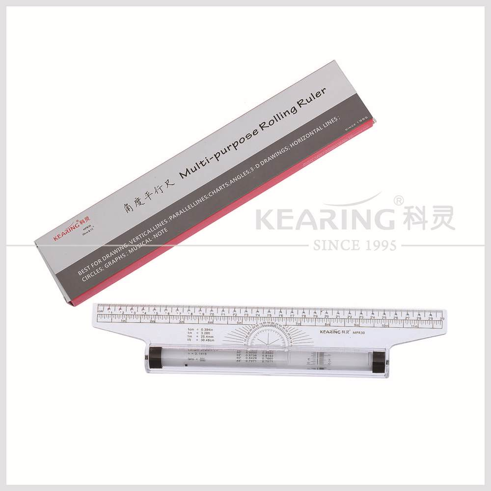 architectural parallel ruler / clear rigid plastic drawing rolling ruler with protractor multi-purpose rolling ruler MPR30