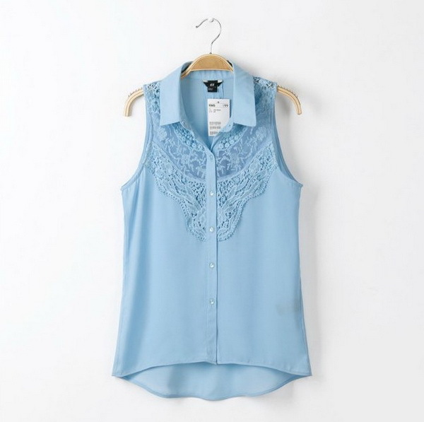 2787d4c5a9 Get Quotations · 2015 Summer Style Women Chiffon Blouses Lace Crochet  Embroidery Top Hollow Out Shirt Sleeveless Casual Plus