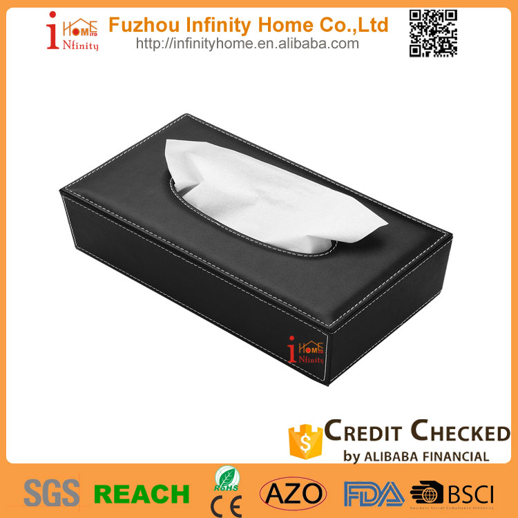 Design black leather tissue box car with factory price