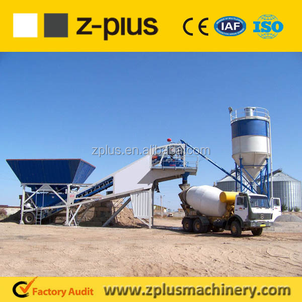 Portable YHZS25 Mobile china batching plant with 2x18m3 aggregate bins