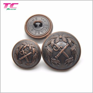 Free Sample Military Metal Jacket Buttons Custom 3D Embossed Military Hat Shank Button