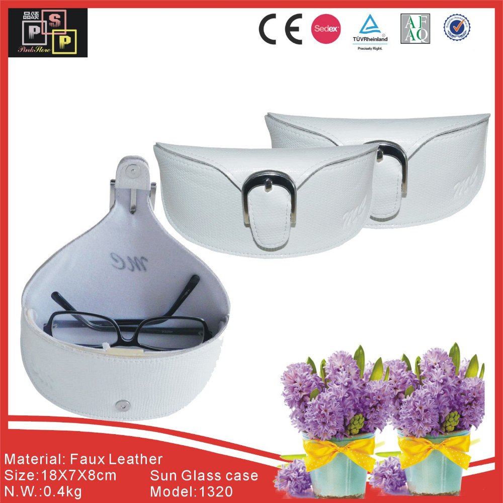 China supplier custom white leather sunglass case