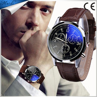 2019 Splendid New Luxury Fashion Blue Ray Glass Quartz Analog Leather Men Watch Casual Cool Brand Men Watch MW025