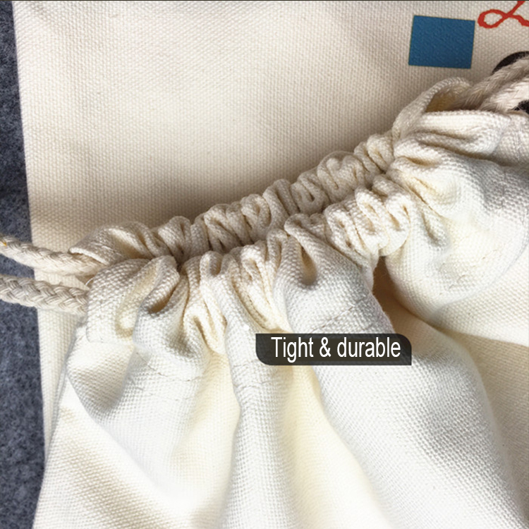 Customized Cheap Natural Calico Nylon Rope Cotton Cloth School Drawstring Backpack Bag