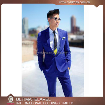 Fashion style custom tailored royal blue colour men suits