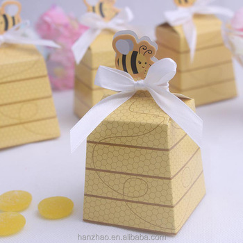 Bee Pattern Kids Birthday Paper Craft Chocolate Candy Box With