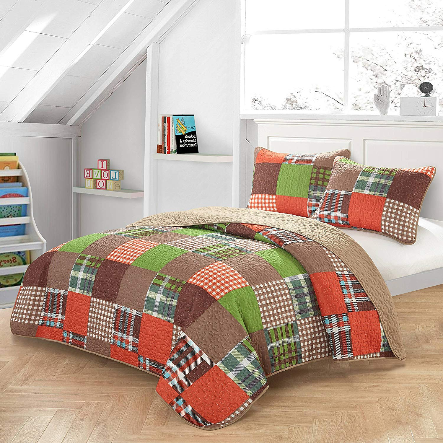 Ln 2 Piece Kids Orange Green Plaid Quilt Twin Set, Brown Blue Patchwork Winery Bedding Tartan Glen Check Geometric for Boys Bedroom Squared Box Durable Reversible Vibrant Color, Polyester