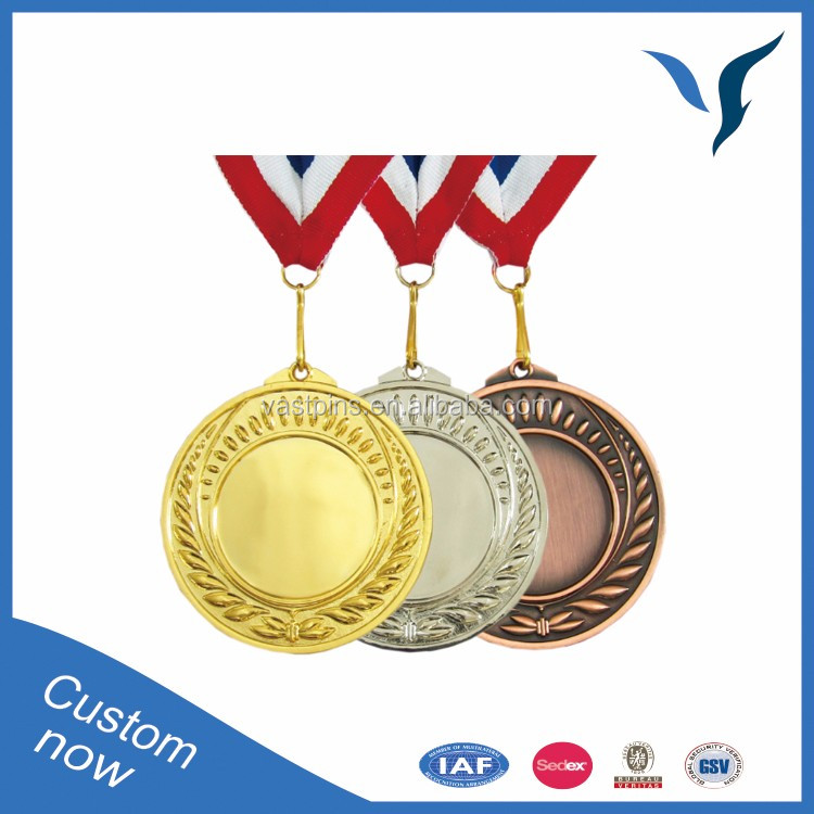 High Quality Customized Gold Plated Sports Medal medallion With Ribbon