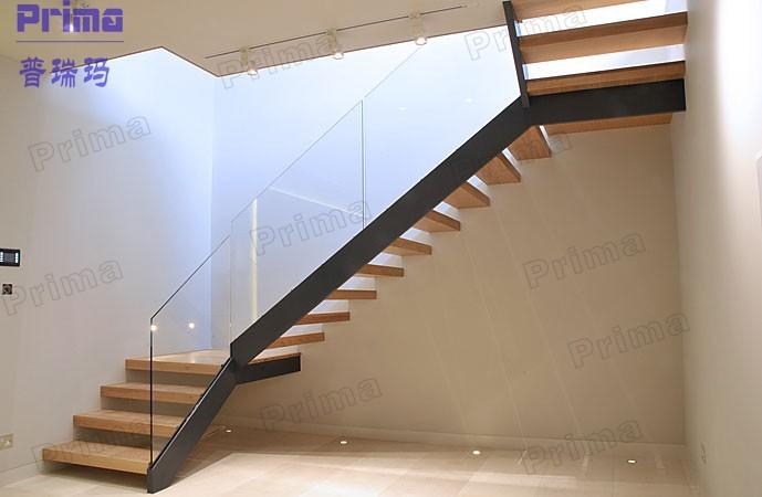 Int rieur en forme de u escalier en bois avec panneau de verre syst me escali - Forme escalier interieur ...