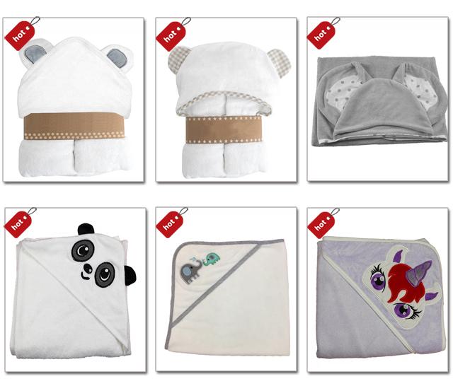 Hypoallergenic animal white kids poncho towel bath baby hooded towel