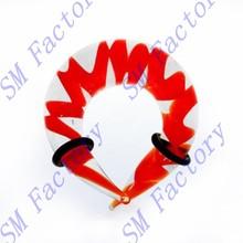 glass twister earring talon horn ear plug gauge taper w/red swirl body piercing jewelry --SMGEP425077