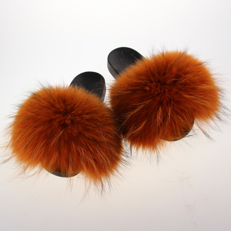 4b7fef4faad0 Real natural brown with Black Tips raccoon fur slides summer Indoor sandals